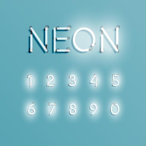 10255Réaliste caractère néon, vector