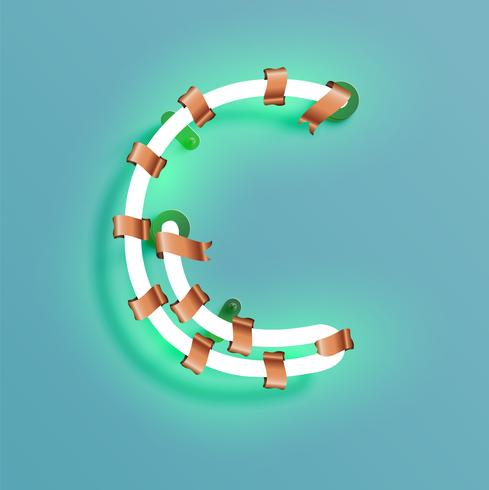 Police de néon d'un jeu de polices avec pin de décoration de Noël, illustration vectorielle vecteur