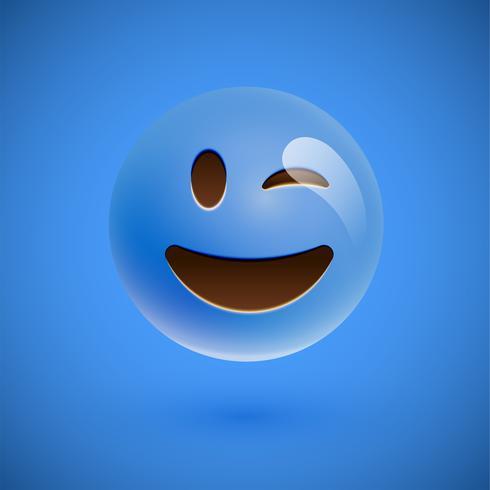 Visage souriant émoticône réaliste bleu, illustration vectorielle vecteur