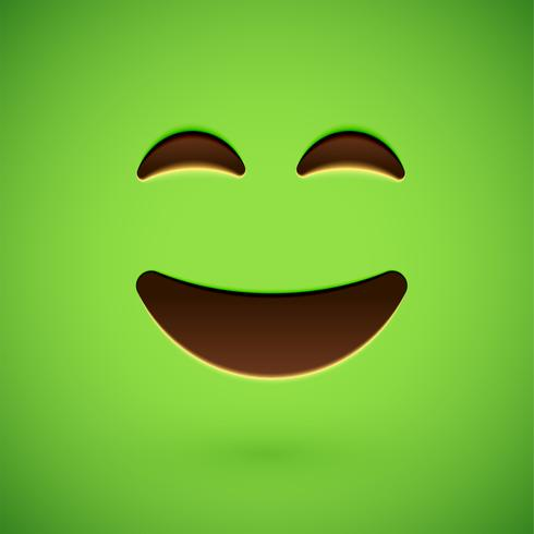 Visage souriant émoticône réaliste vert, illustration vectorielle vecteur