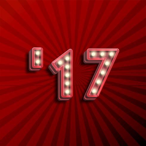 Texte 3D '17 pour le nouvel an avec des ampoules rougeoyantes, illustration vectorielle vecteur