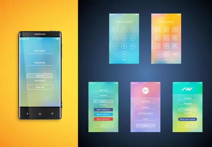 Interface utilisateur simple et colorée définie pour les smartphones - Écran de connexion, illustration vectorielle vecteur