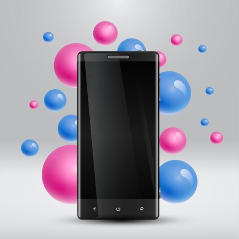 Bulles colorées flottant autour d'un smartphone réaliste pour les entreprises, illustration vectorielle vecteur