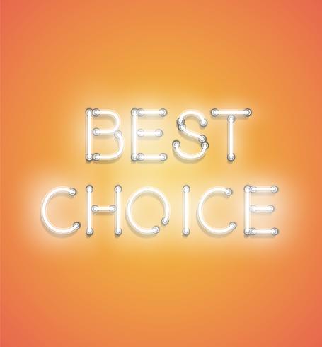 'BEST CHOICE' - Enseigne au néon réaliste, illustration vectorielle vecteur