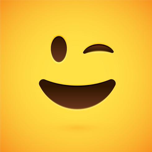 Émoticône jaune réaliste devant un fond jaune, illustration vectorielle vecteur