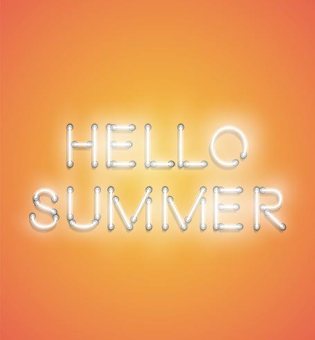 'HELLO SUMMER' - Enseigne au néon réaliste, illustration vectorielle vecteur