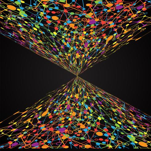 Abstrait polygonale avec points et lignes connectés, structure de connexion, hud futuriste, illustration vectorielle vecteur