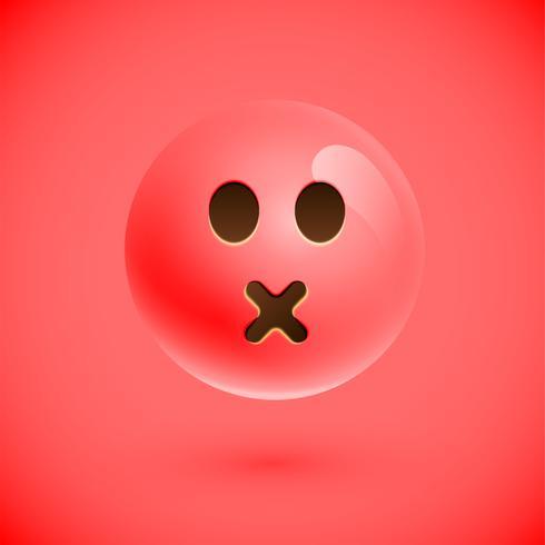 Visage souriant émoticône réaliste rouge, illustration vectorielle vecteur