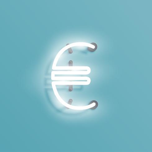 Personnage néon réaliste à partir d'un jeu de polices, illustration vectorielle vecteur
