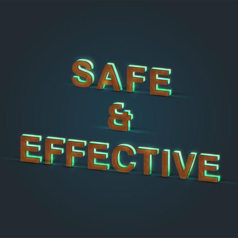 'SAFE & EFFECTIVE' - Illustration réaliste d'un mot en bois et verre brillant, vecteur