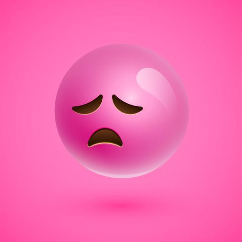 Visage souriant émoticône réaliste rose, illustration vectorielle vecteur