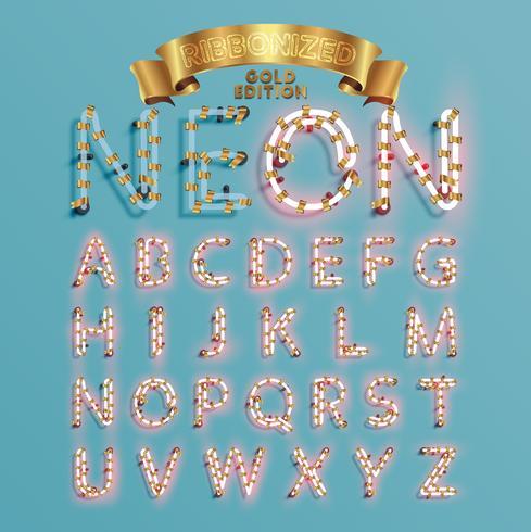 Fonts de police de néon avec pin de décoration de Noël, illustration vectorielle vecteur
