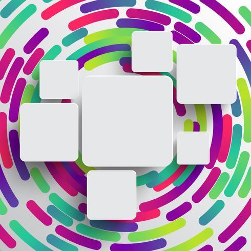 Forme arrondie avec ombre et fond de cercle coloré vecteur