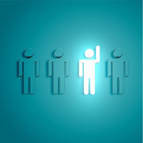 Démarquez-vous de la foule homme brillant avec la main levée, illustration vectorielle vecteur