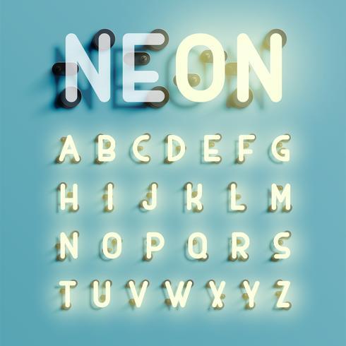 Jeu de caractères réaliste néon, illustration vectorielle vecteur