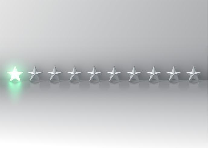 Notation d'étoile 3D rougeoyante, illustration vectorielle vecteur