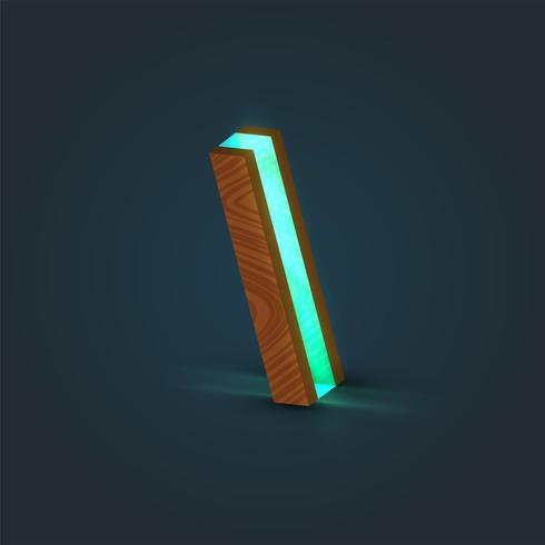 Personnage 3D, réaliste, verre et bois d'une fonte, vecteur