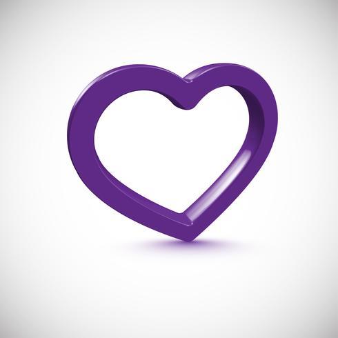Cadre coeur 3D violet, illustration vectorielle vecteur
