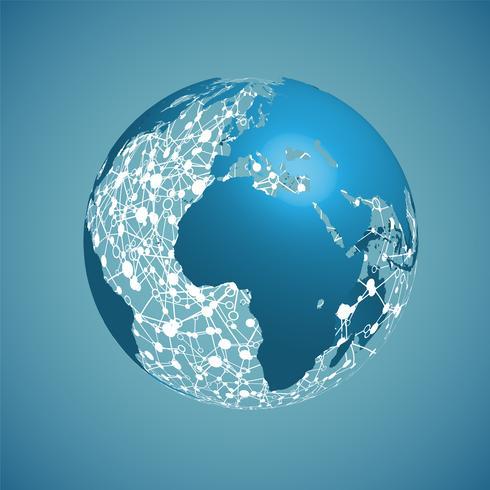 Globe terrestre sur un fond bleu, illustration vectorielle vecteur