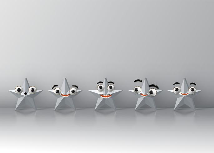 Étoiles de smiley détaillées hautes, illustration vectorielle vecteur