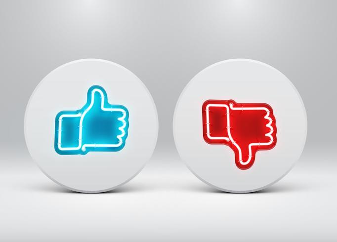 Néon aime et n'aime pas les boutons, illustration vectorielle vecteur