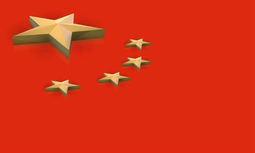 Drapeau de la Chine en 3D, vector