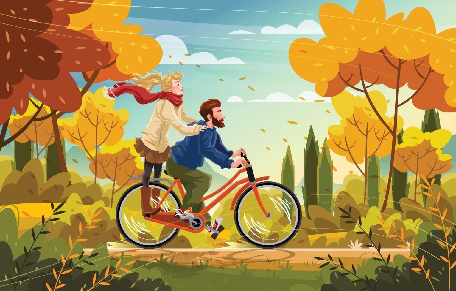 couple, faire du vélo, dans, les, automne, parc, concept vecteur