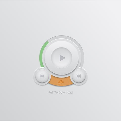 Bouton de téléchargement pour l'interface utilisateur, vecteur