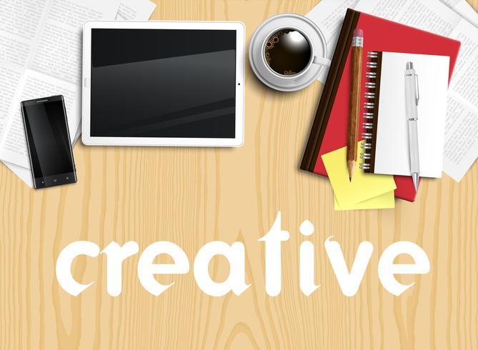 Bureau réaliste avec différents objets, illustration vectorielle vecteur