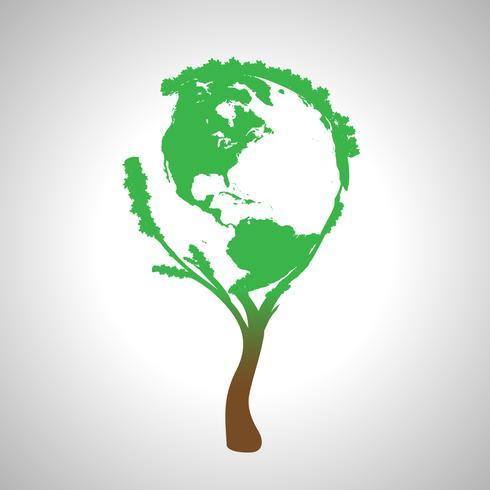 Carte du monde globe sur un arbre, vecteur