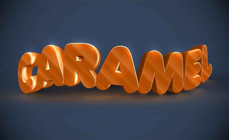 Typographie 3D - caramel, vecteur