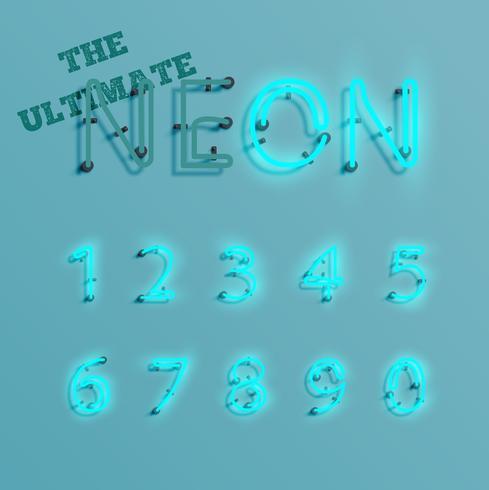 Caractère de néon bleu réaliste, vector