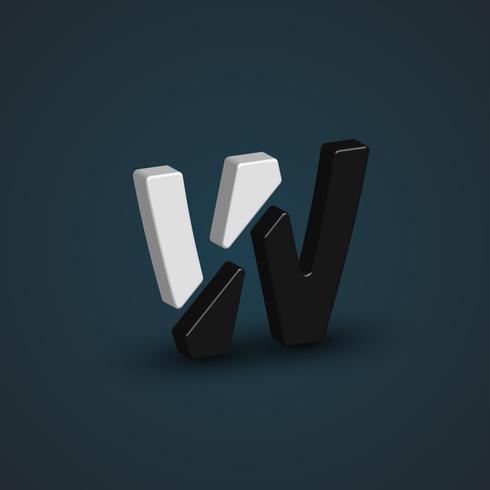 Personnage 3D en noir et blanc à partir d'un jeu de polices, illustration vectorielle vecteur
