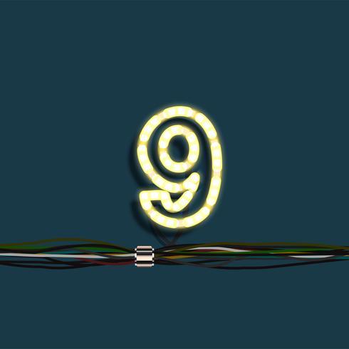 Numéro de guirlande de néon, vector