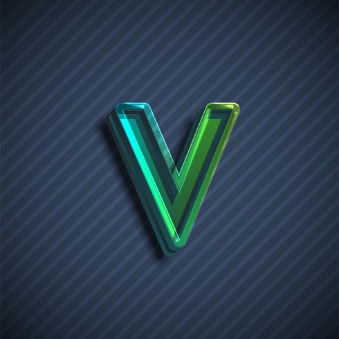 Caractère de police 3D vitreux, illustration vectorielle vecteur