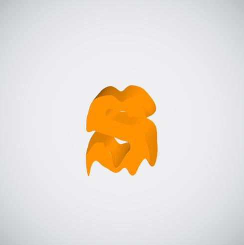Fonte orange caractère, vecteur