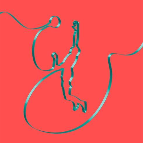 Ruban coloré façonne un joueur de volley-ball, vector