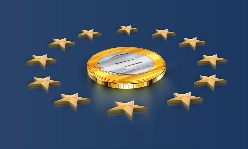 Drapeau de l'Union européenne étoiles et argent (euro), vecteur