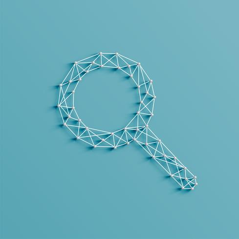 Illustration réaliste d'une icône de recherche faite par des épingles et des chaînes, vector