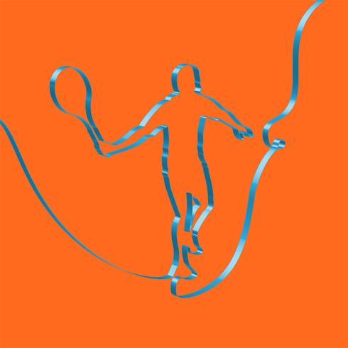 Ruban coloré façonne un joueur de tennis, vecteur