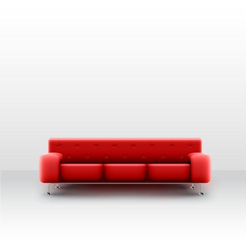 Un canapé rouge réaliste dans une salle blanche, vector