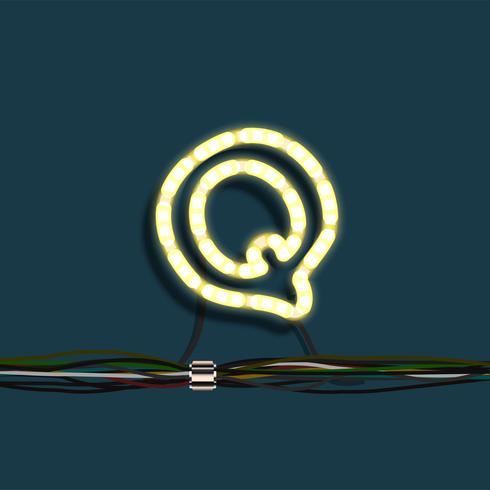 Lettre de guirlande de néon, vector