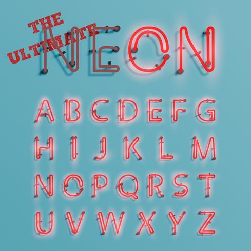 Caractère de néon rouge réaliste, vector