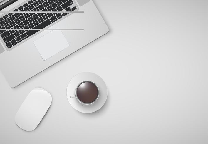 Bureau minimal avec ordinateur, souris et une tasse de café, illustration vectorielle vecteur