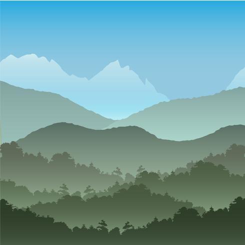 Arrière-plan transparent de vecteur. Paysage de montagne verte en été. vecteur