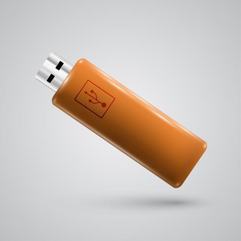 Clé USB réaliste, illustration vectorielle vecteur