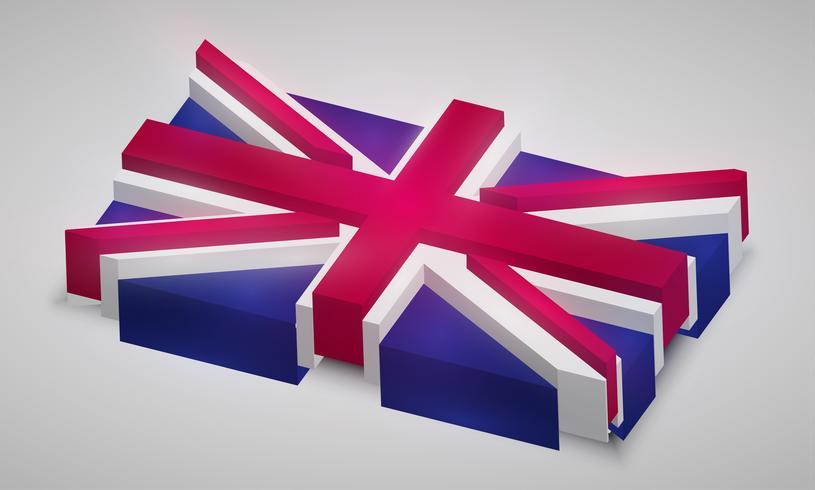 Drapeau du Royaume-Uni en 3D, vector
