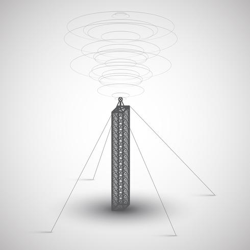 Tour de radio sur fond gris, vector