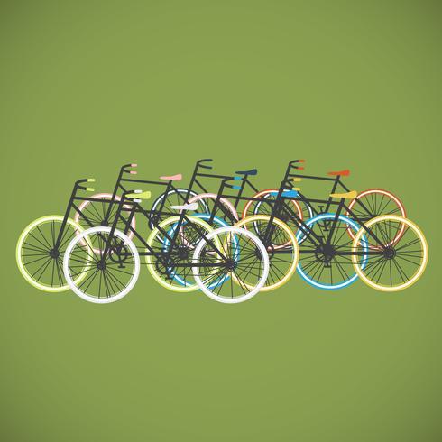 Illustration de plat vélo coloré, vector