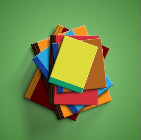 Livres colorés réalistes avec fond vert et ombre, illustration vectorielle vecteur